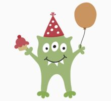 Party monster with balloon and cupcake sticker by MheaDesign