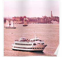 Boston Harbor, Tall Ships and Bunker Hill Monument Poster