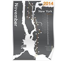 New York City Marathon Map 2014 Poster