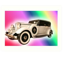 Old Gangster type automobile with rainbow colors Art Print