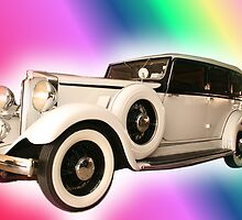 Old Gangster type automobile with rainbow colors by vvfineartphotog