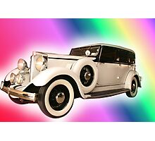 Old Gangster type automobile with rainbow colors Photographic Print