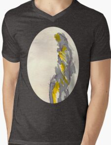 Yellow to Grey Mens V-Neck T-Shirt