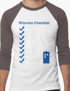 Whovian Checklist (for dark colors) Men's Baseball ¾ T-Shirt