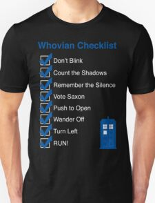 Whovian Checklist (for dark colors) T-Shirt