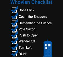 Whovian Checklist (for dark colors) Unisex T-Shirt