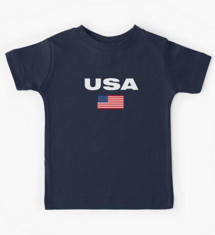 USA Horizontal WHITE Kids Tee
