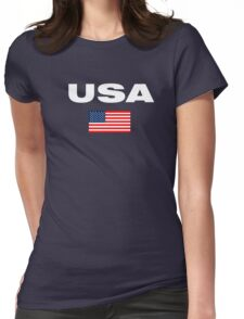 USA Horizontal WHITE Womens Fitted T-Shirt
