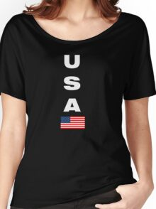 USA Vertical WHITE Women's Relaxed Fit T-Shirt