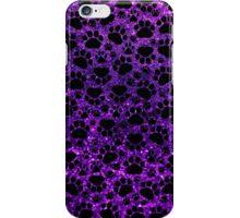 Dog Paws, Traces, Paw-prints, Glitter - Purple Black iPhone Case/Skin
