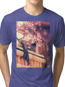 Pink Plum Blossoms with Bamboo Fence and Pagoda Tri-blend T-Shirt