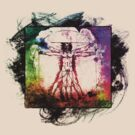 Colorful Grunge Vitruvian Man - Leonardo Da Vinci Tribute Art T Shirt - Stickers by Denis Marsili