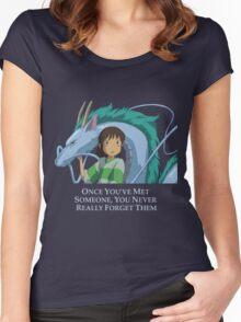 Spirited Away Chihiro and Haku-Studio Ghibli Women's Fitted Scoop T-Shirt