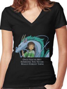 Spirited Away Chihiro and Haku-Studio Ghibli Women's Fitted V-Neck T-Shirt