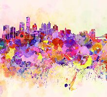 New York skyline in watercolor background by Pablo Romero