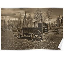 Chuckwagon & Plow at Ft. Bridger (Toned) Poster