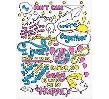 """Happily"" Lyric Drawing Photographic Print"