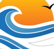 Sun, wave and birds sticker Sticker