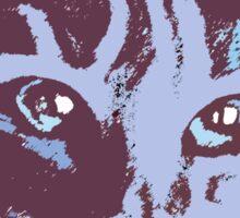 Cool Cat Head ~ Blue  Sticker