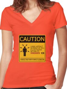 If lost return to warehouse 13 Women's Fitted V-Neck T-Shirt