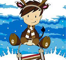 Reindeer Boy on Sledge by MurphyCreative