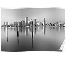 Serene City in Black and White Poster