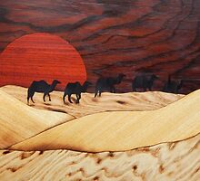 Desert landscape marquetry by Andulino