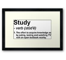 Study Definition Framed Print