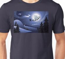 Flying Santa and Winter Forest 2 Unisex T-Shirt