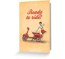 Vespa Scooter Pinup Girl Vintage Scandinavian Design Greeting Card
