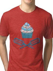 Cupcake & Crossed Beaters In Blue Tri-blend T-Shirt