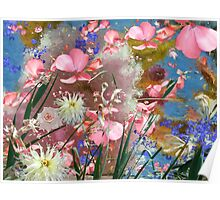 Pastel coloured flowers and leaves. Poster