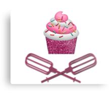 Cupcake & Crossed Beaters In Pink Metal Print