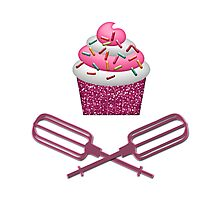 Cupcake & Crossed Beaters In Pink Photographic Print