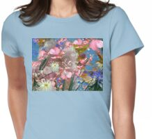 Pastel coloured flowers and leaves. Womens Fitted T-Shirt