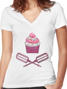 Cupcake & Crossed Beaters In Pink Women's Fitted V-Neck T-Shirt
