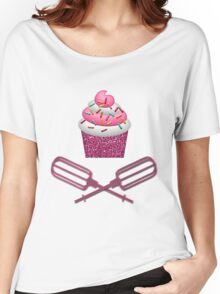 Cupcake & Crossed Beaters In Pink Women's Relaxed Fit T-Shirt