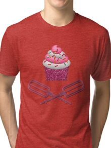 Cupcake & Crossed Beaters In Pink Tri-blend T-Shirt