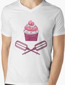 Cupcake & Crossed Beaters In Pink Mens V-Neck T-Shirt