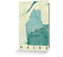 Maine Map Blue Vintage Greeting Card