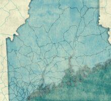 Maine Map Blue Vintage Sticker