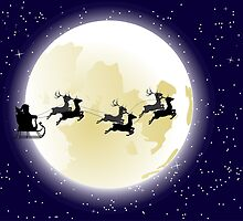 Flying Santa and Full Moon 2 by AnnArtshock