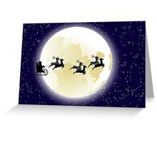 Flying Santa and Full Moon 2 Greeting Card