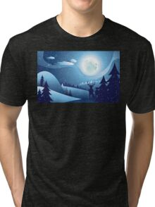 Deers in Winter Forest 2 Tri-blend T-Shirt