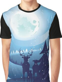 Deers in Winter Forest 2 Graphic T-Shirt