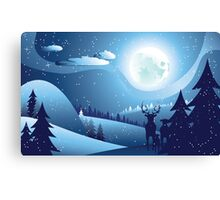 Deers in Winter Forest 2 Canvas Print