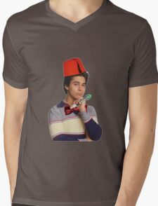 Fez wearing a fez and being the doctor  Mens V-Neck T-Shirt