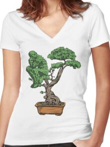 Bonsai Thinking Women's Fitted V-Neck T-Shirt