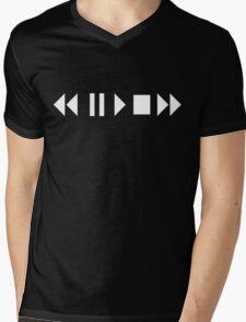 Play Pause Stop Fast Forward Reverse Mens V-Neck T-Shirt