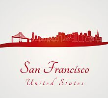 San Francisco skyline in red by Pablo Romero